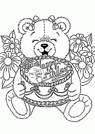 Small Picture Teddy Bear Happy Birthday coloring page for kids holiday coloring