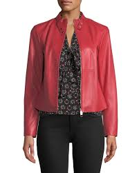 emporio armanirosso zip front leather jacket