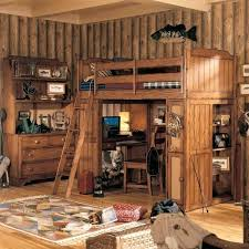 log loft bed with desk bedroom rustic pine furniture brown plank wood frame bed tree as