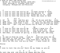 Top 500 Hymn: I Love To Tell The Story - lyrics, chords and PDF