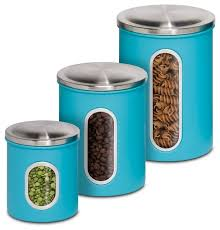 Metal Kitchen Storage Canisters, Set of 3 contemporary-kitchen -canisters-and-