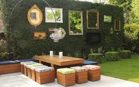 green wall decorated with mirrors and empty frames inspirational outdoor wall decoration