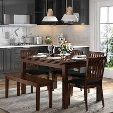 dining table sets. Diner 6 Seater Dining Table Set (With Bench) (Dark Walnut Finish) By Sets O