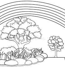 All free coloring pages online at here. Printable Rainbow And Garden Coloring Page For Both Aldults And Kids