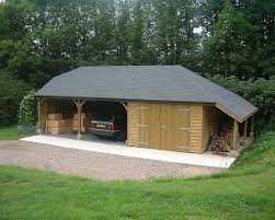 two open carports 1 enclosed garage bitumen felt slate roof with one half hip and full a logstore at 30 degree pitch wooden carports storage c47 wooden