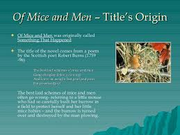 of mice and men theme and overview of mice and men title s