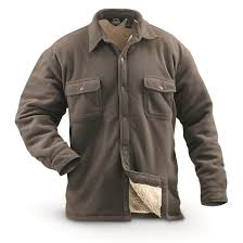 guide gear mens sherpa lined fleece cpo shirt taupe