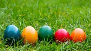 Painted Easter Eggs In Green Grass Spring Easter