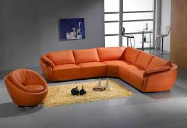orange sectional sofa leather 767 orange o8