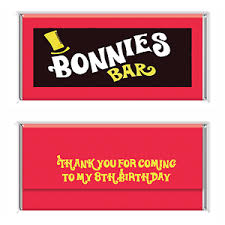 personalized chocolate bar wrappers willy wonka bar personalised chocolate bar wrapper party