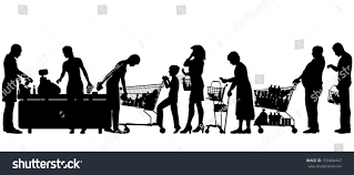 separate people. editable vector silhouettes of people in a supermarket checkout queue with all elements as separate objects