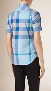 Burberry Light Blue Giant Exploded Check Cotton Shirt