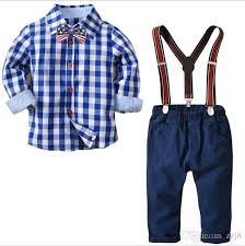 Shirts With Pants 2019 Pure Cotton Plain Shirts Pants Match Kids Autumn Winter Suspender Trousers Clothing Sets For Baby Boys Red Blue Print From Zzj8 18 1