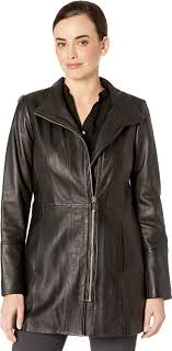 cole haan womens smooth leather car coat w convertible collar at women s coats