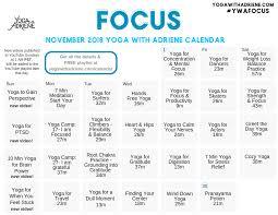 November Through November Calendars November 2018 Ywa Yoga Calendar Yoga With Adriene