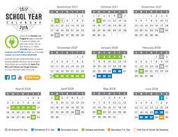 year calender 2017 2018 school year calendar