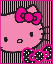 Hello Kitty Pink Black Fleece Blanket Throw Official Amazon Co Uk