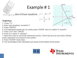 example 1 solving a system of linear equations ti 84 plus