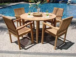 modern wood garden furniture with round table and teak chairs by president furniture