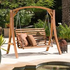 Coral Coast Rustic Oak Log Curved Back Porch Swing and A-Frame Set |  Hayneedle