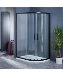 1200mm x 800mm double door black quadrant shower enclosure and shower tray includes free shower tray waste