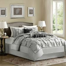 full queen cal king bed silver gray