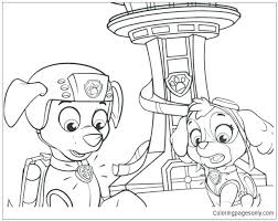 Paw Patrol Coloring Pages Everest Badge Skye And Free Top Goo