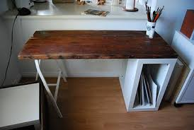 diy reclaimed wood desk with ikea storage via ikeahackers diy home office desk recycled