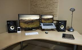 design of setup austin grade regarding laptop and monitor desk setup