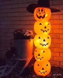 Outdoor Plastic Light Up Pumpkins Glowing Plastic Jack O Lantern Totem Diy Halloween Decoration