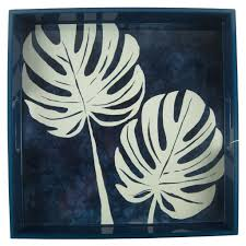 Rock Paper Flower Trays Philodendron Square Lacquer Tray New At The Hour Cocktail