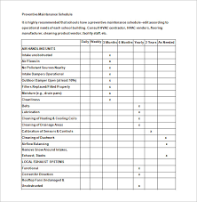 39 Preventive Maintenance Schedule Templates Word Excel