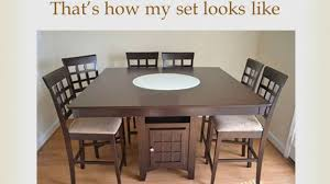 review coaster home furnishings 9 piece counter height storage dining table lazy susan chair set
