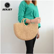 Straw Beach Tote Bags Handmade Woven Handbag Raffia Rattan ...