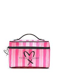 victoria s secret vs logo pink signature striped weekender makeup train case nwt victoriecret