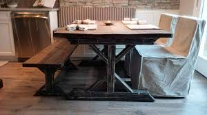 white rustic dining table. idyllic square reclaimed wood farmhouse table with long wooden benches also white fabric dining slipcovers chairs in rustic room furnishing ideas