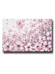 giclee print abstract painting pink poppies flowers grey white peonies floral canvas wall art on white floral canvas wall art with giclee print abstract painting pink poppies flowers grey white