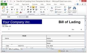 excel bill free bill of lading form template for excel