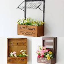 Decorative Planter Boxes Vintage Flower Box Pine Wooden Wall Planter Pastoral Style Home 22