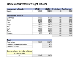 Costume Measurement Sheet Template Measurements Weight Tracker