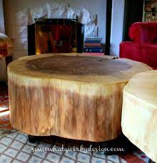 diy table from large tree slices