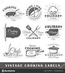 Recipe Labels Templates Set Vintage Cooking Labels Templates Design Logos Emblems