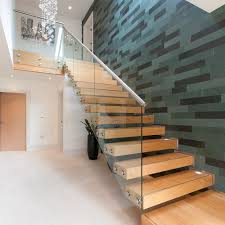China Contemporary Floating Staircase with Wood Tread Invisible Stringer  Straight Stairs - China Floating Staircase, Contemporary Floating Staircase