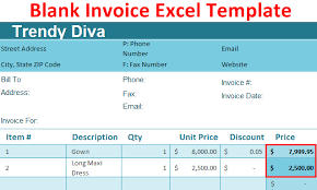 excel bill blank invoice excel template how to create blank invoice