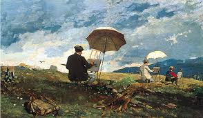 artists sketching in the white mountains by winslow homer
