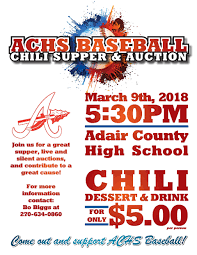 chili supper flyer achs baseball to host chili supper and auction adair county high