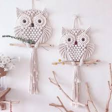 hand woven owl large white pure cotton