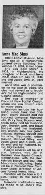 Obituary for Anna Mae Sims, 1932-2001 (Aged 69) - Newspapers.com
