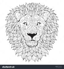 Small Picture Hand Drawn Lion Head Isolated On Transparent Background Anti
