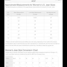 Adriano Goldschmied Jeans Size Chart Jean Size Measurement Chart Nwt